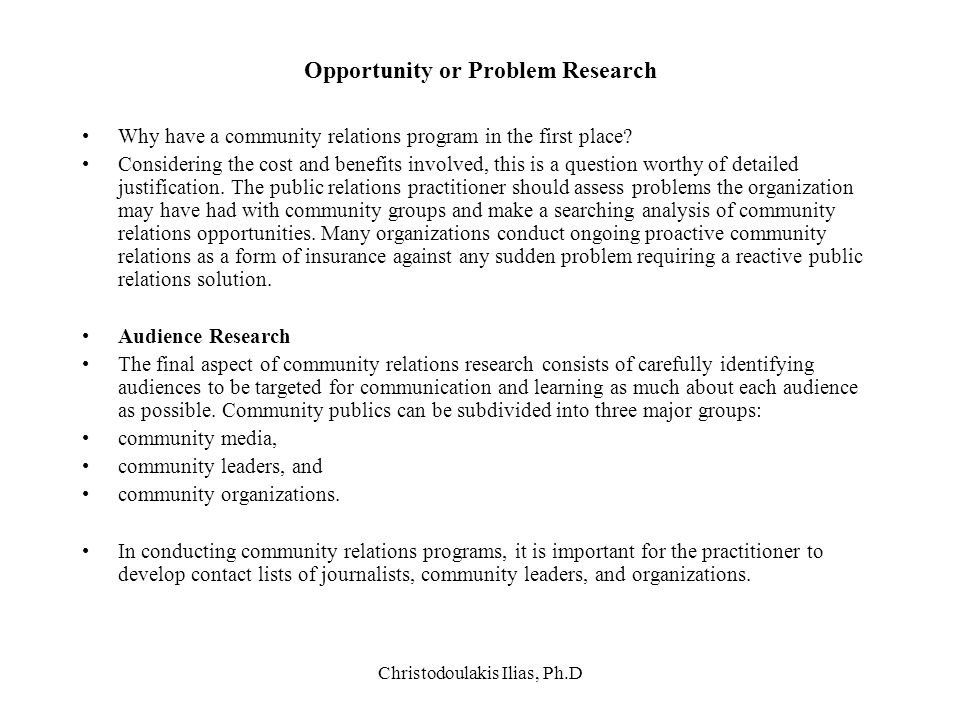 Opportunity or Problem Research