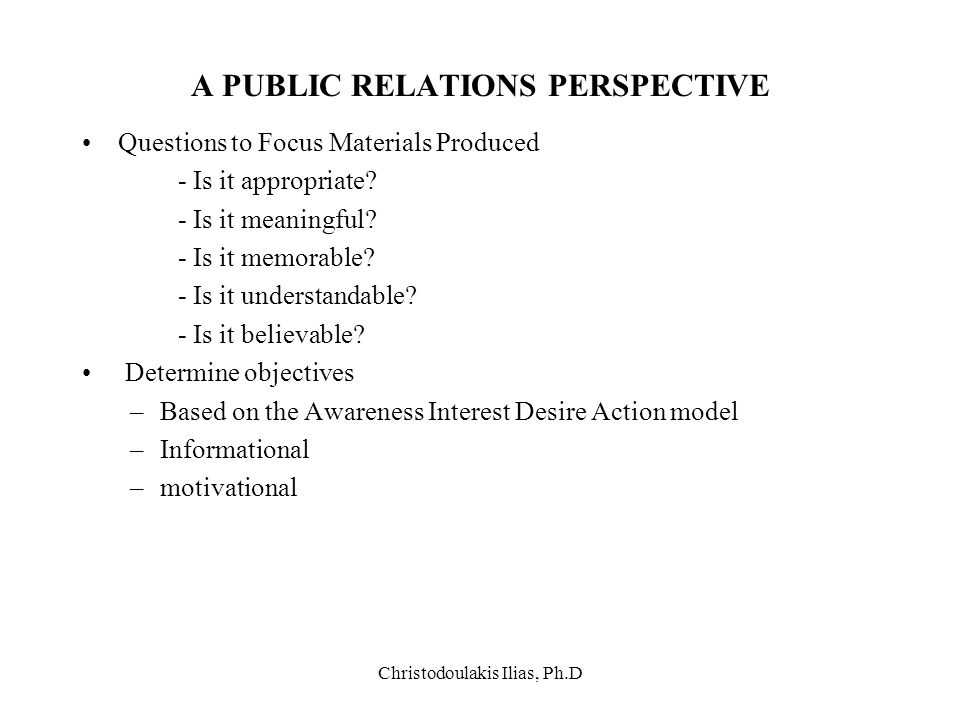 A PUBLIC RELATIONS PERSPECTIVE