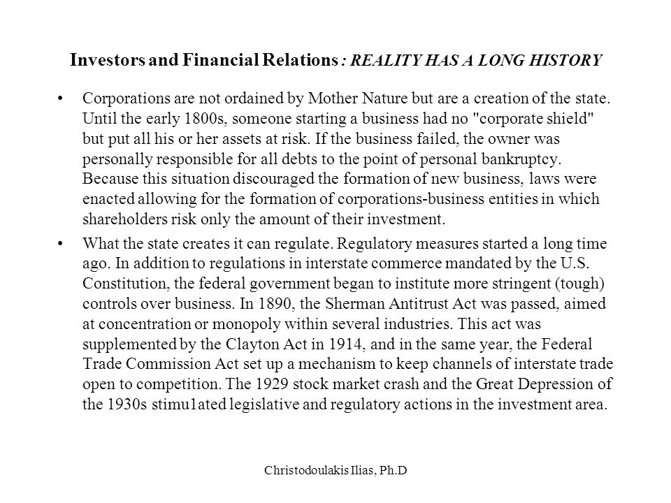 Investors and Financial Relations : REALITY HAS Α LONG HISTORY