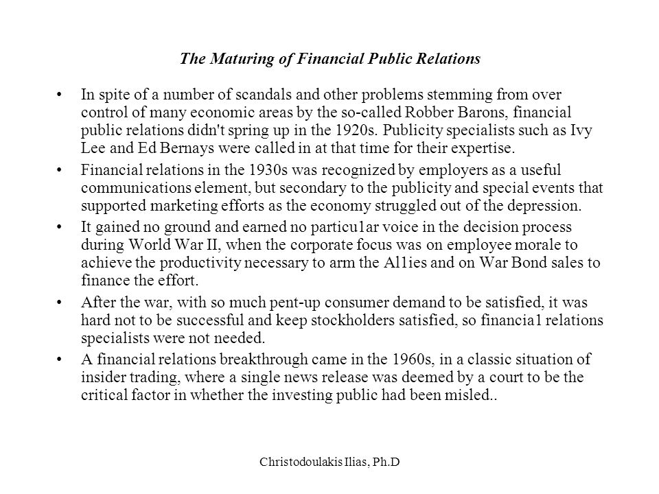 The Maturing of Financial Public Relations