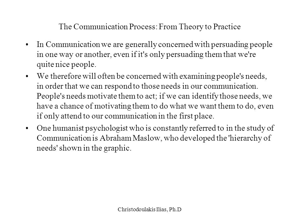 The Communication Process: From Theory to Practice