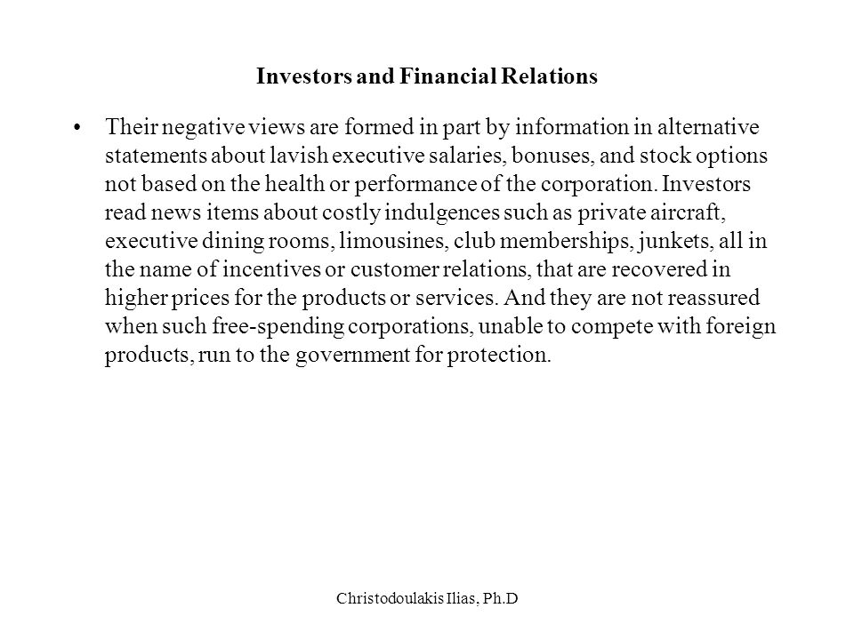 Investors and Financial Relations