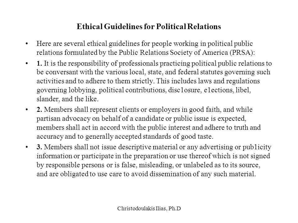 Ethical Guidelines for Political Relations