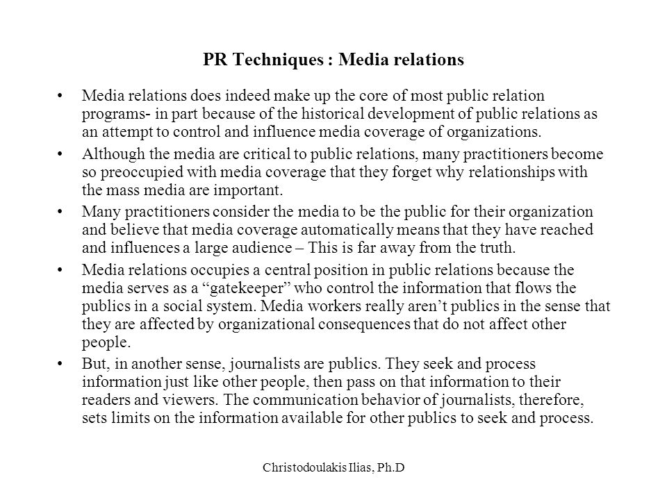 PR Techniques : Media relations