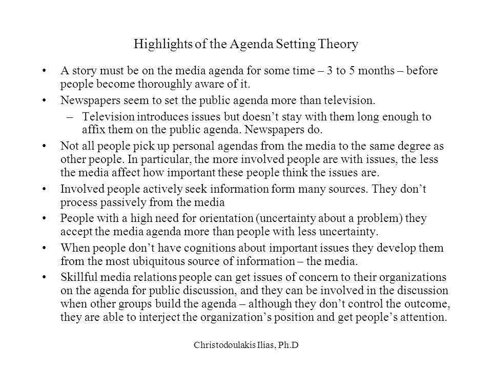 Highlights of the Agenda Setting Theory