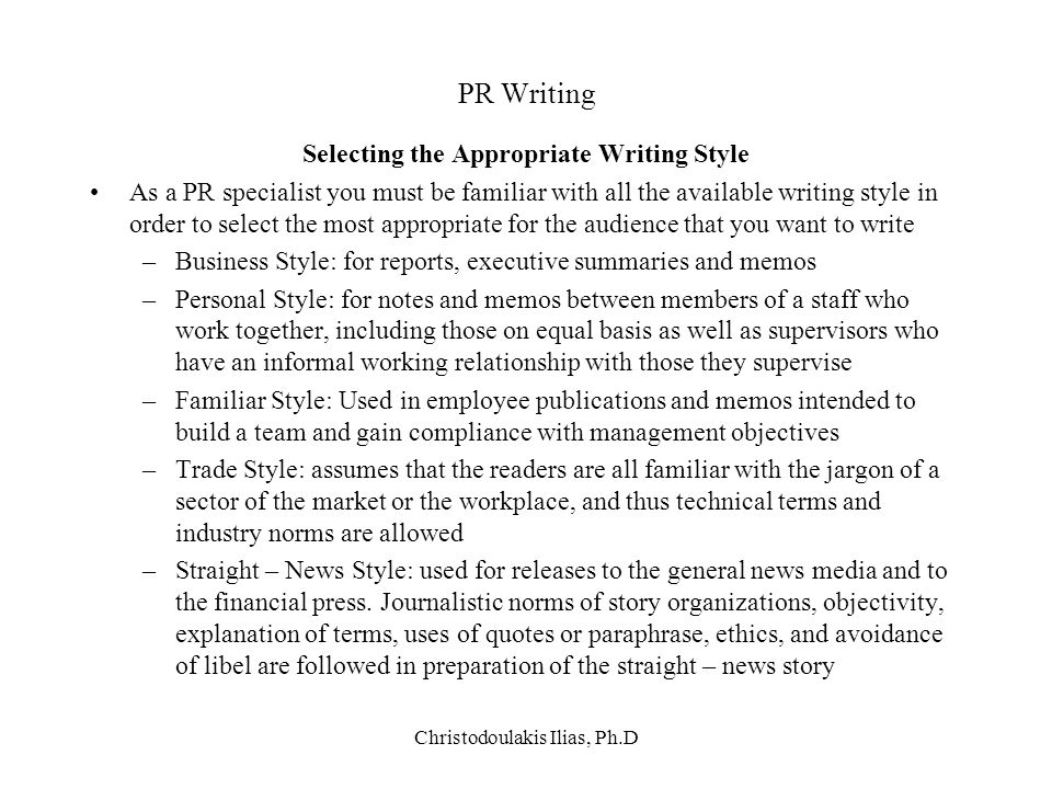 Selecting the Appropriate Writing Style