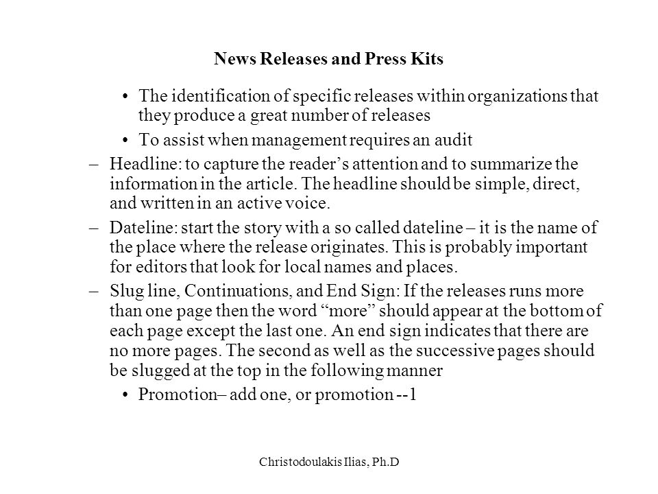 News Releases and Press Kits