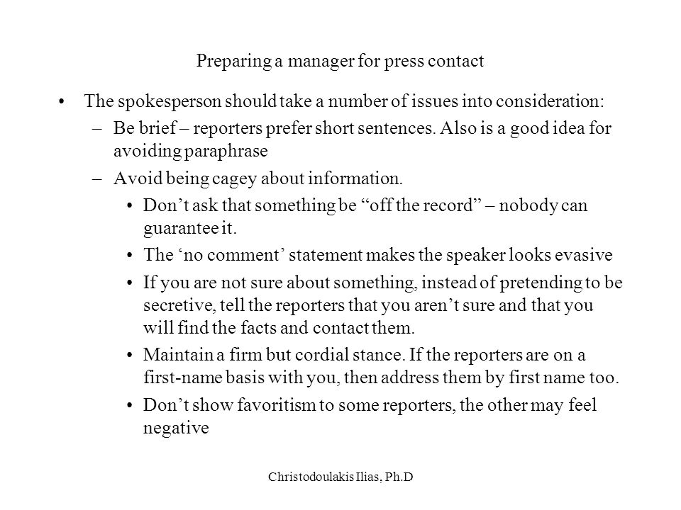 Preparing a manager for press contact