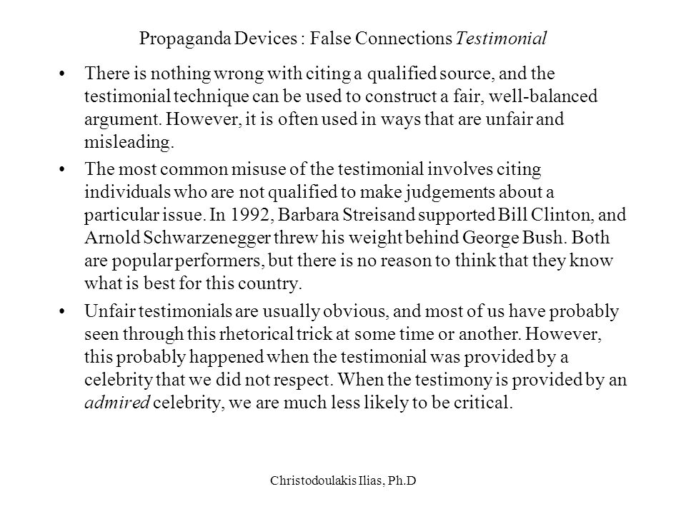 Propaganda Devices : False Connections Testimonial