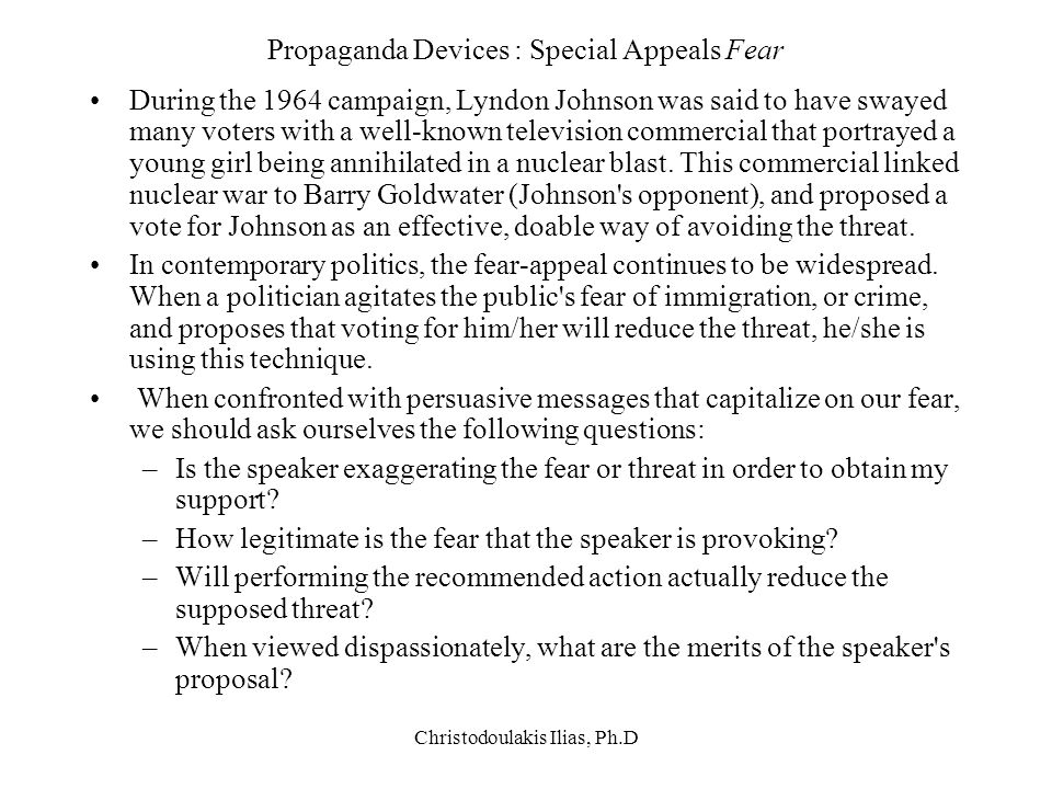 Propaganda Devices : Special Appeals Fear