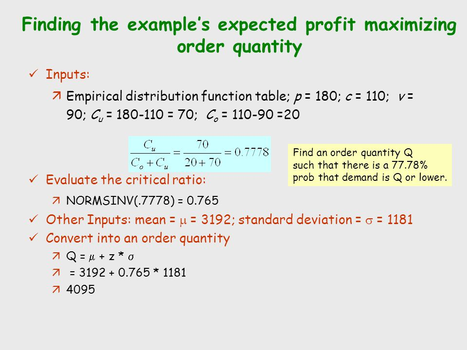 Finding the example's expected profit maximizing order quantity