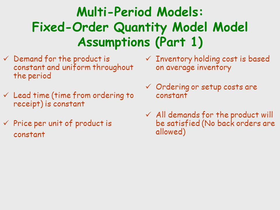 Multi-Period Models: Fixed-Order Quantity Model Model Assumptions (Part 1)