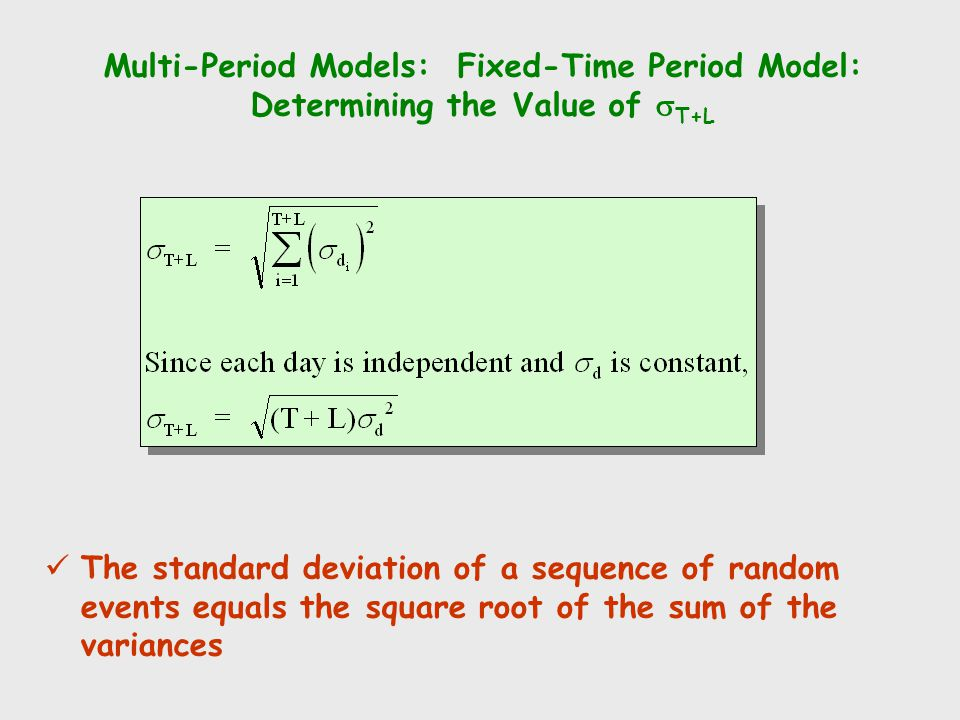 Multi-Period Models: Fixed-Time Period Model: Determining the Value of sT+L