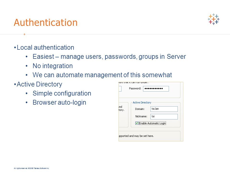 Authentication Local authentication