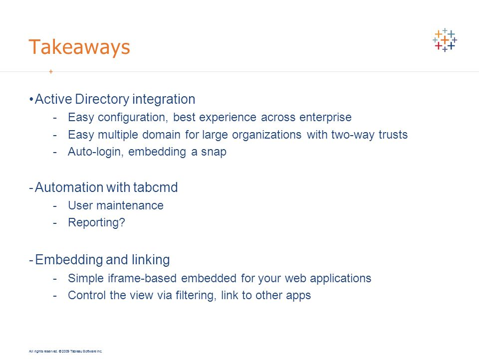 Takeaways Active Directory integration Automation with tabcmd