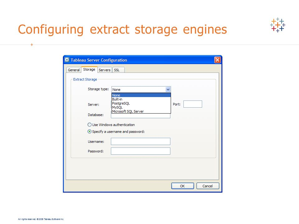 Configuring extract storage engines