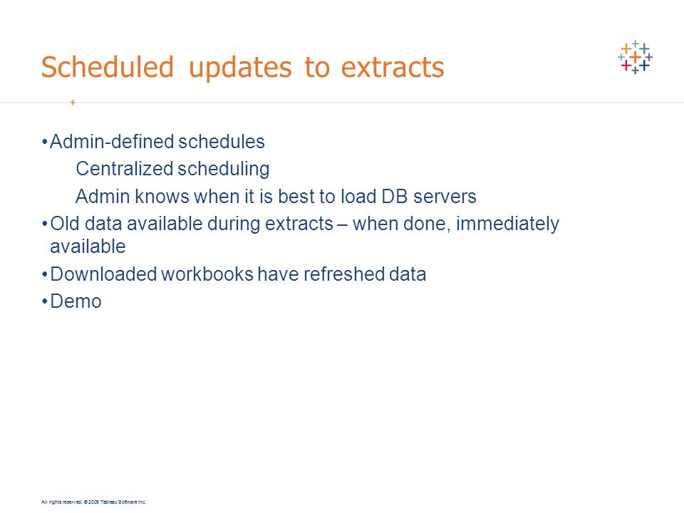 Scheduled updates to extracts