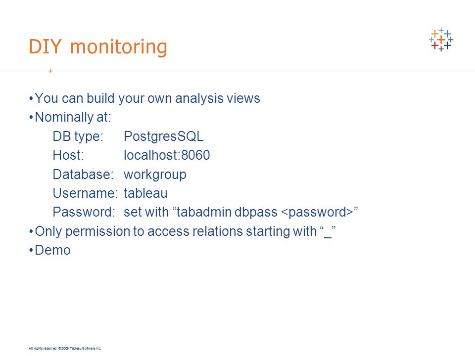 DIY monitoring You can build your own analysis views Nominally at: