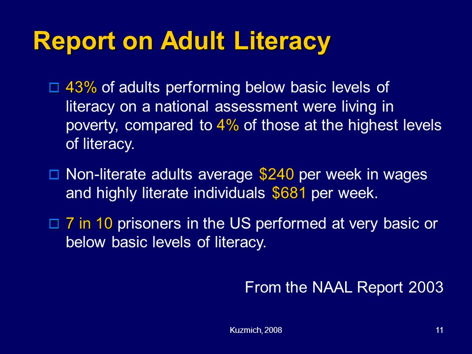 Report on Adult Literacy