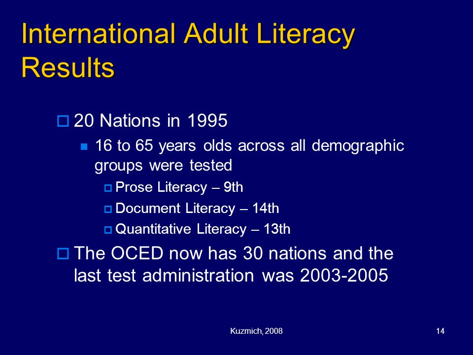 International Adult Literacy Results