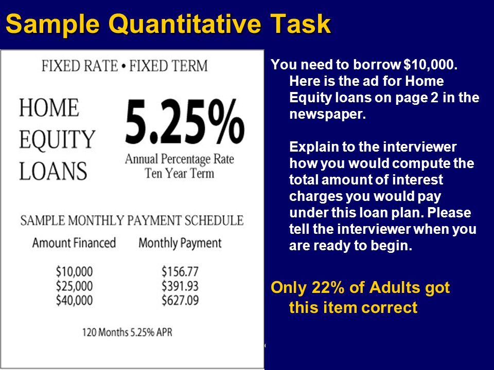Sample Quantitative Task