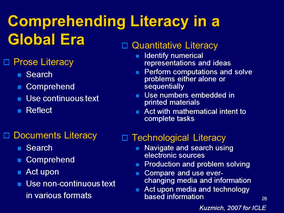 Comprehending Literacy in a Global Era