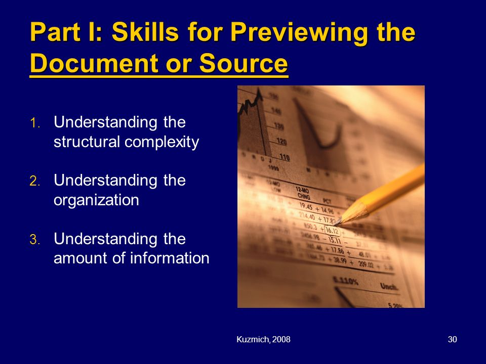 Part I: Skills for Previewing the Document or Source