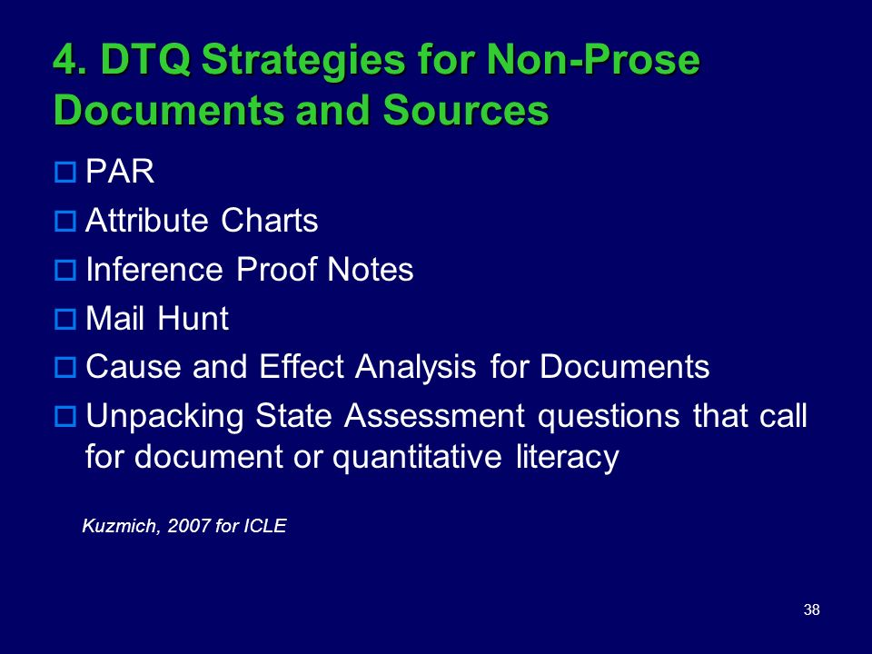4. DTQ Strategies for Non-Prose Documents and Sources