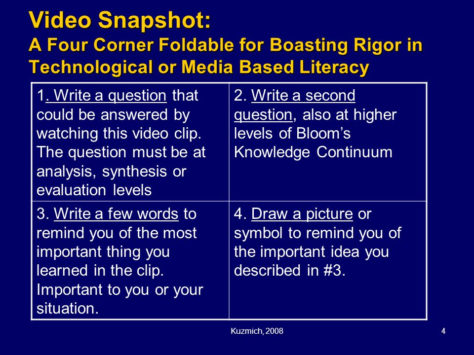 Video Snapshot: A Four Corner Foldable for Boasting Rigor in Technological or Media Based Literacy