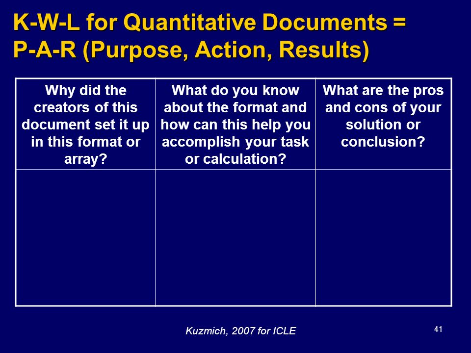 K-W-L for Quantitative Documents = P-A-R (Purpose, Action, Results)