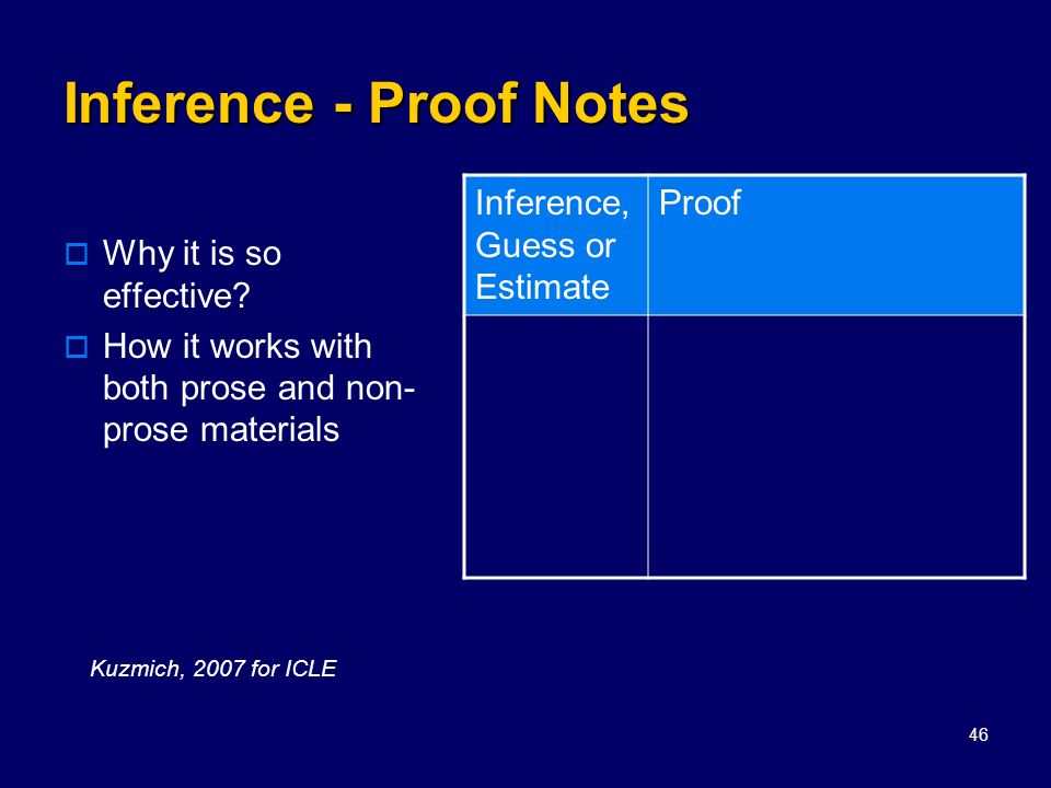 Inference - Proof Notes