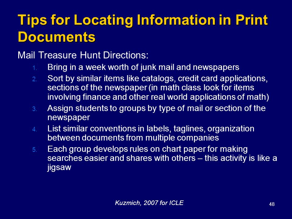 Tips for Locating Information in Print Documents