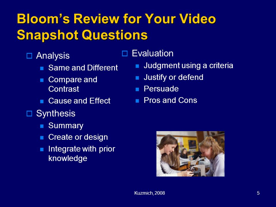 Bloom's Review for Your Video Snapshot Questions