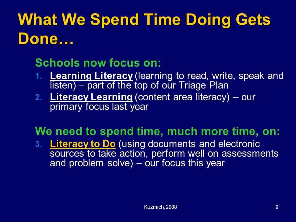 What We Spend Time Doing Gets Done…