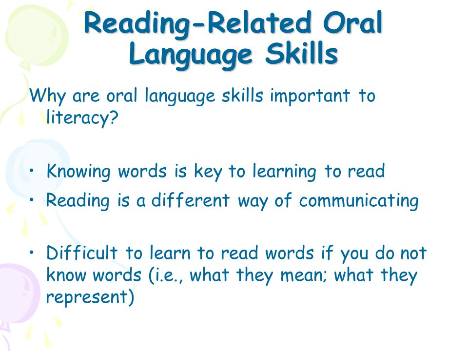 Reading-Related Oral Language Skills