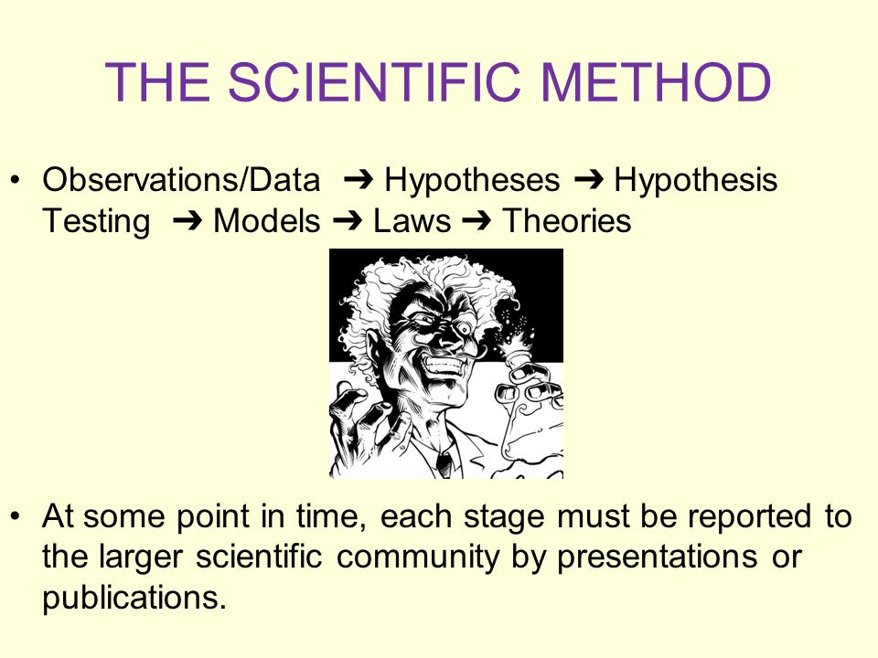 THE SCIENTIFIC METHOD Observations/Data ➔ Hypotheses ➔ Hypothesis Testing ➔ Models ➔ Laws ➔ Theories.