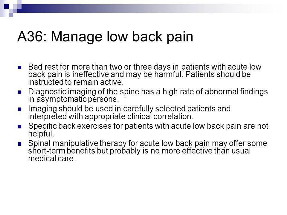 A36: Manage low back pain