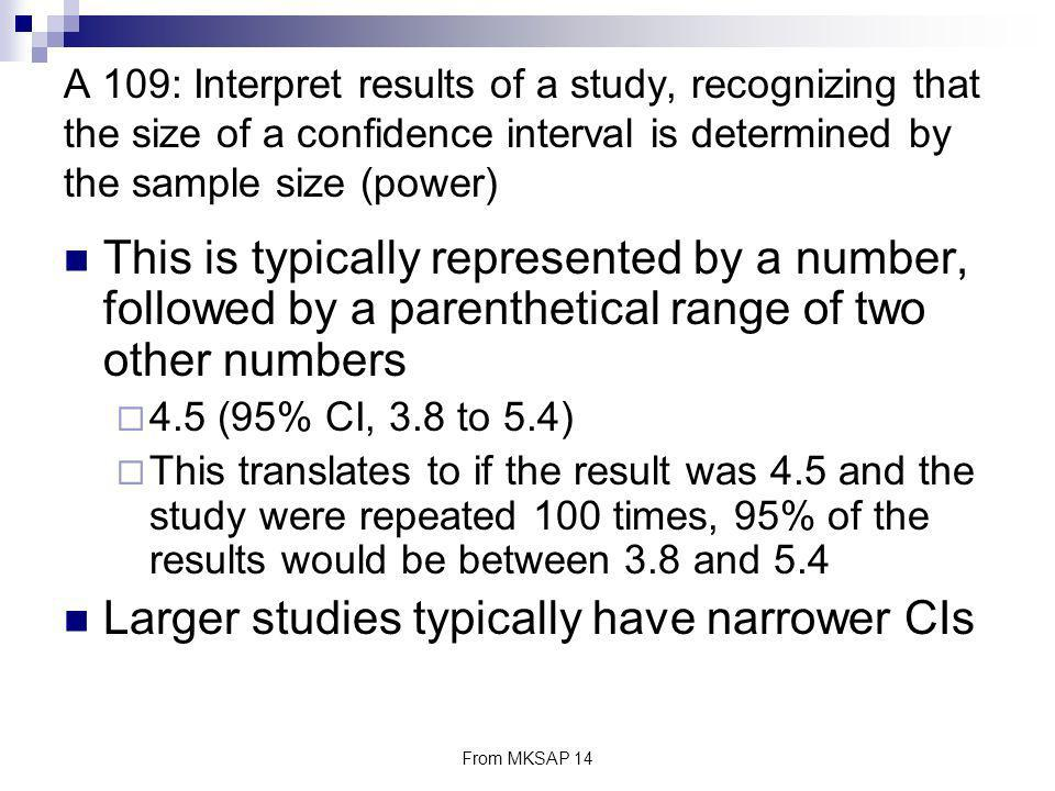 Larger studies typically have narrower CIs