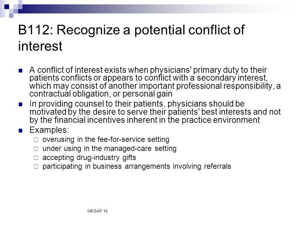 B112: Recognize a potential conflict of interest