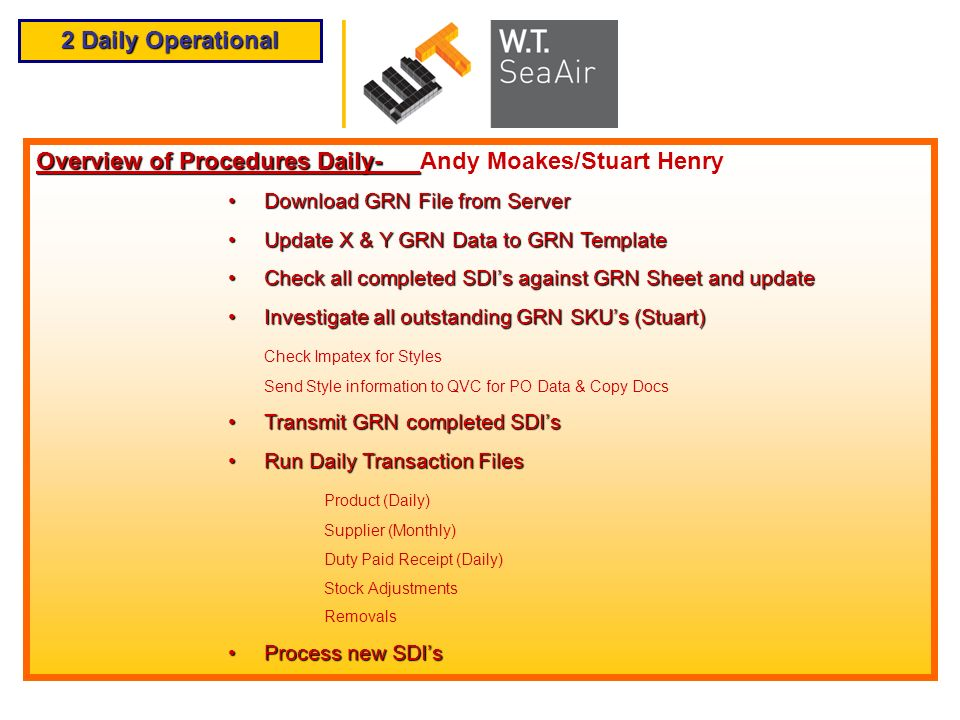 Overview of Procedures Daily- Andy Moakes/Stuart Henry