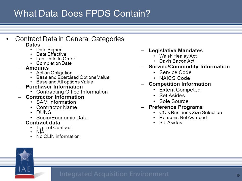 What Data Does FPDS Contain