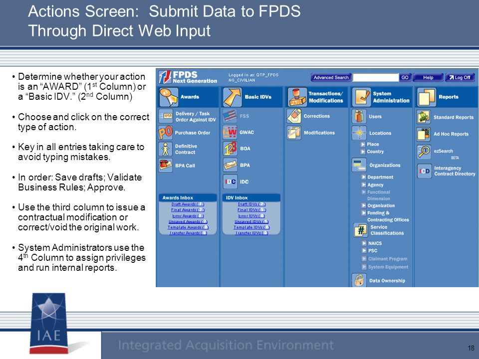 Actions Screen: Submit Data to FPDS Through Direct Web Input