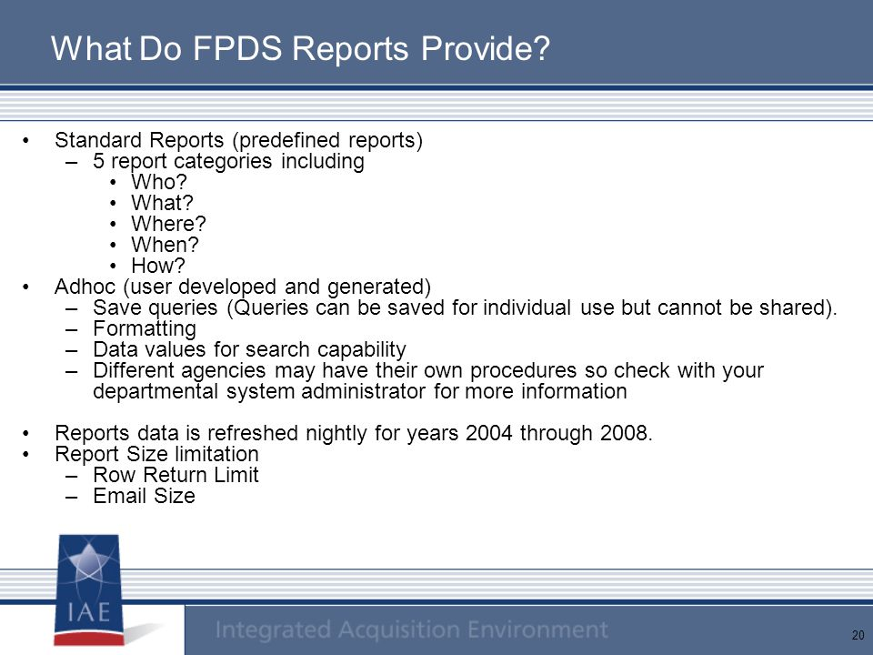What Do FPDS Reports Provide