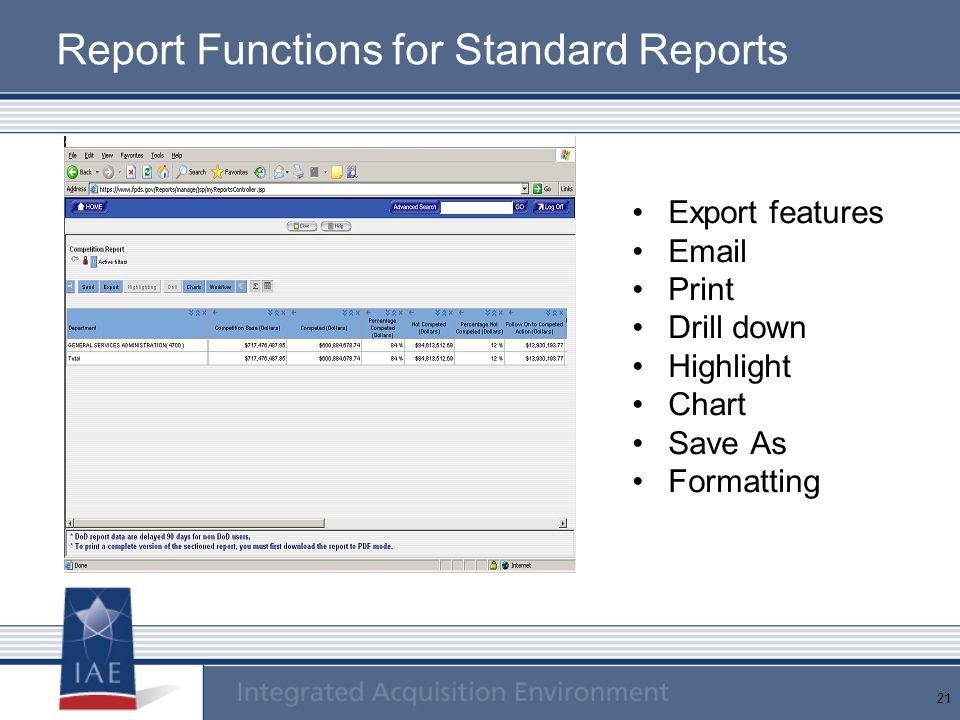 Report Functions for Standard Reports