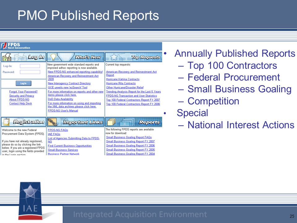 PMO Published Reports Annually Published Reports Top 100 Contractors