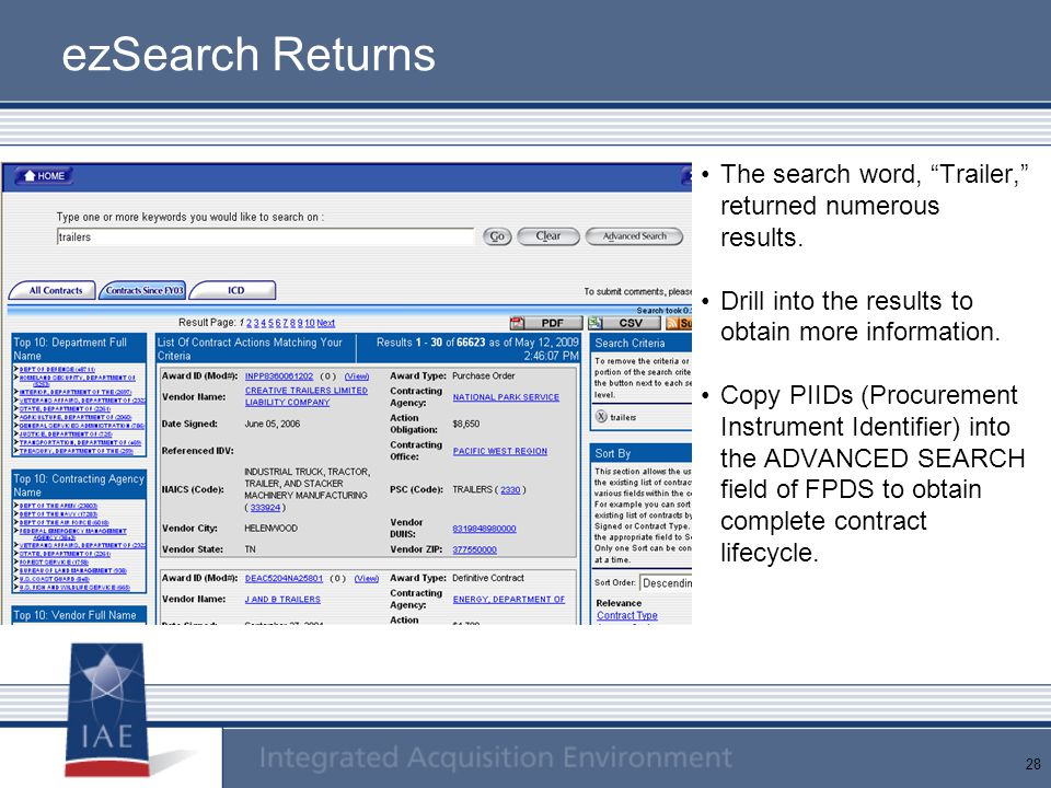 ezSearch Returns The search word, Trailer, returned numerous results. Drill into the results to obtain more information.