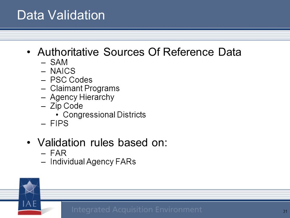 Data Validation Authoritative Sources Of Reference Data