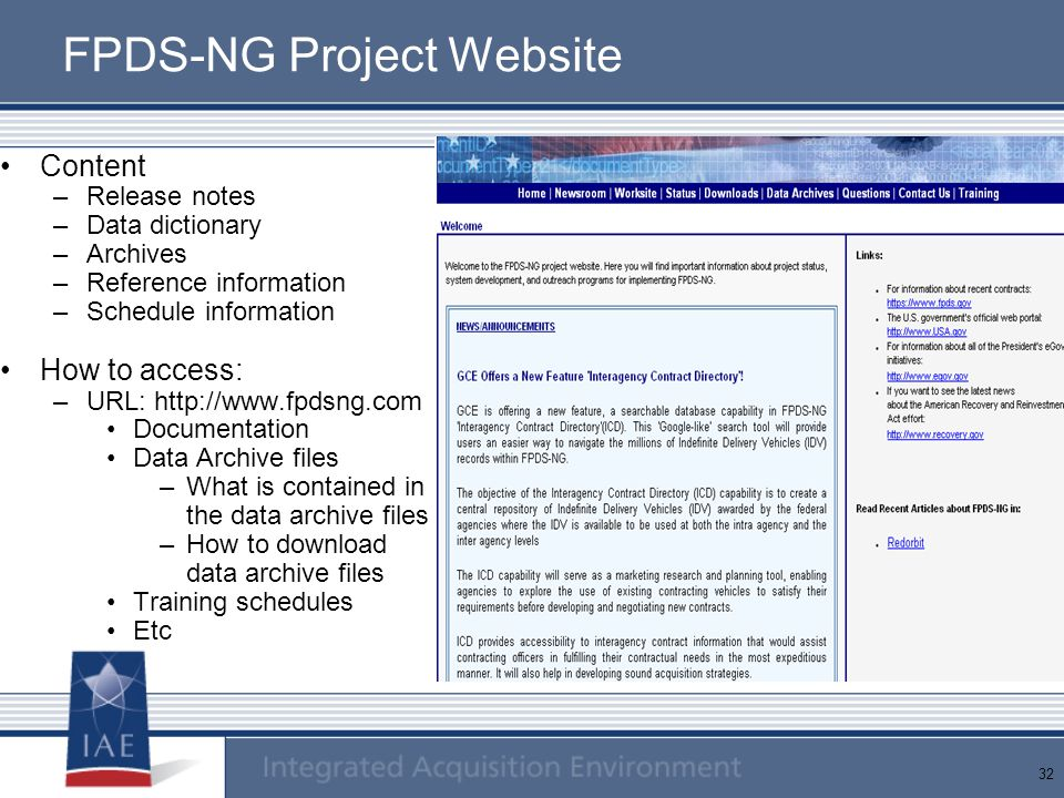 FPDS-NG Project Website