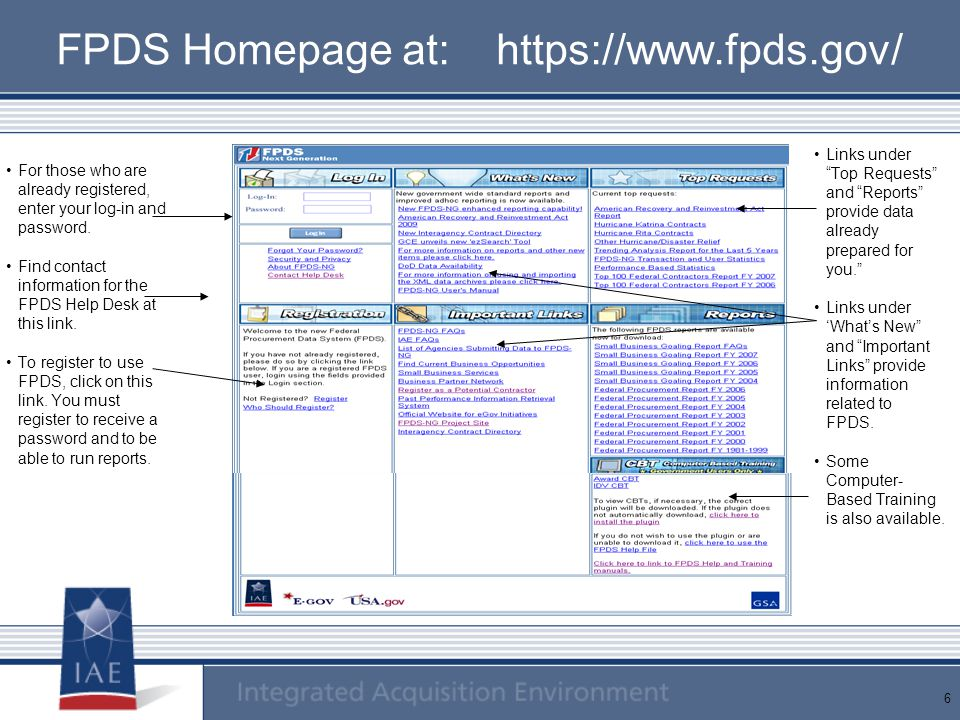 FPDS Homepage at: https://www.fpds.gov/