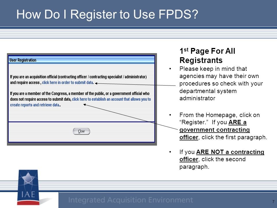 How Do I Register to Use FPDS